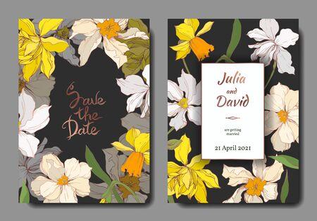 Vector Narcissus floral botanical flowers. Black and white engraved ink art. Wedding background card decorative border. Thank you, rsvp, invitation elegant card illustration graphic set banner.