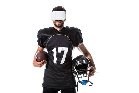 happy American Football player in virtual reality headset with ball Isolated On White