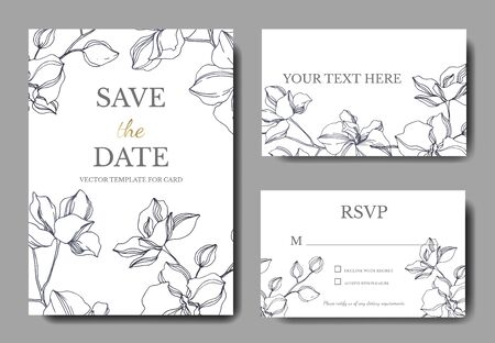 Vector Orchid floral botanical flowers. Black and white engraved ink art. Wedding background card decorative border. Thank you, rsvp, invitation elegant card illustration graphic set banner. Фото со стока
