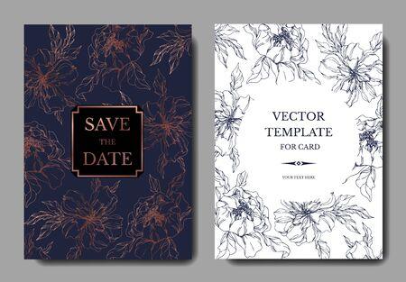 Peony floral botanical flowers. Black and white engraved ink art. Wedding background card decorative border. Thank you, rsvp, invitation elegant card illustration graphic set banner.