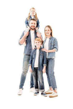 full length view of happy smiling family in jeans isolated on white Stockfoto