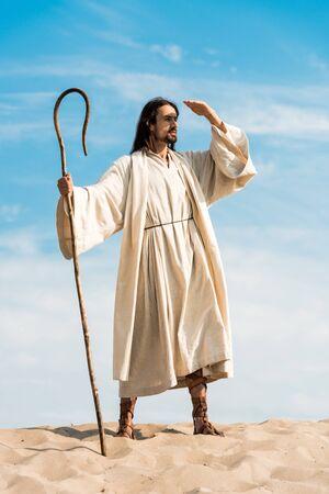 handsome bearded man holding wooden cane in desert Imagens