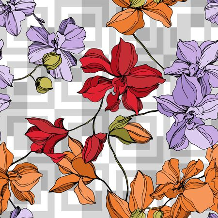 Orchid floral botanical flowers. Wild spring leaf wildflower isolated. Black and white engraved ink art. Seamless background pattern. Fabric wallpaper print texture.