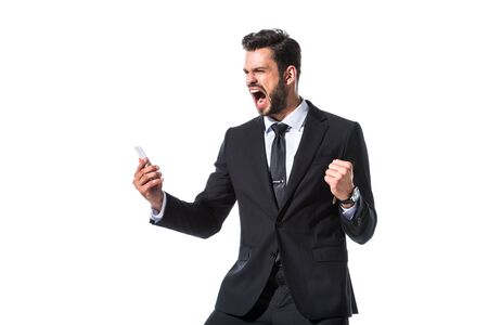 shouting businessman with smartphone and clenched hand Isolated On White