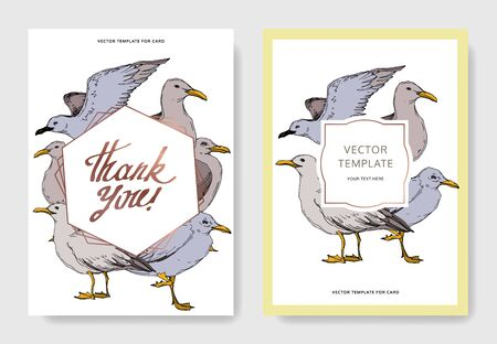 Vector Sky bird seagull in a wildlife. Black and white engraved ink art. Wedding background card decorative border. Thank you, rsvp, invitation elegant card illustration graphic set banner.