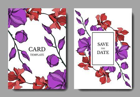 Vector Orchid floral botanical flowers. Black and white engraved ink art. Wedding background card decorative border. Thank you, rsvp, invitation elegant card illustration graphic set banner. Banco de Imagens