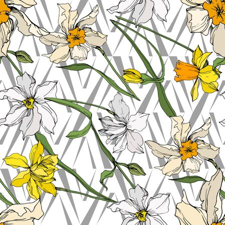Vector Narcissus floral botanical flowers. Wild spring leaf wildflower isolated. Black and white engraved ink art. Seamless background pattern. Fabric wallpaper print texture.
