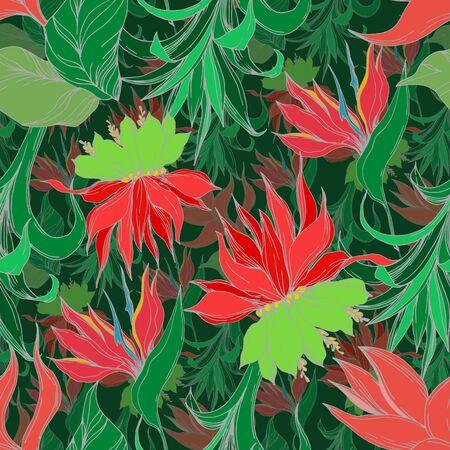 Vector Estate tropicale esotica hawaiana. La palma da spiaggia lascia i fiori botanici della giungla. Inchiostro inciso in bianco e nero art. Motivo di sfondo senza soluzione di continuità. Trama di stampa carta da parati in tessuto.