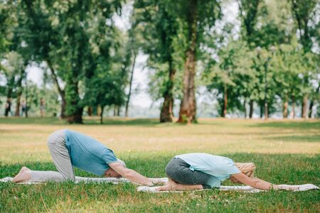 mature man and woman practicing relaxation yoga poses on yoga mats on lawn