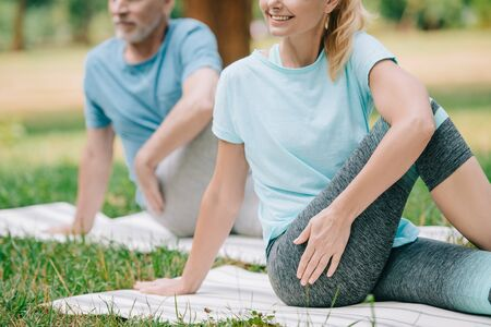 partial view of mature man and woman practicing yoga on lawn in park