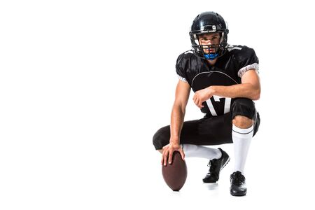 American Football player in helmet with ball Isolated On White with copy space