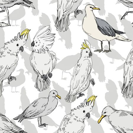 Vector Sky bird cockatoo in a wildlife. Wild freedom, bird with a flying wings. Black and white engraved ink art. Seamless background pattern. Fabric wallpaper print texture. 스톡 콘텐츠