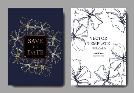 Vector Flax floral botanical flowers. Black and white engraved ink art. Wedding background card floral decorative border. Thank you, rsvp, invitation elegant card illustration graphic set banner. 写真素材