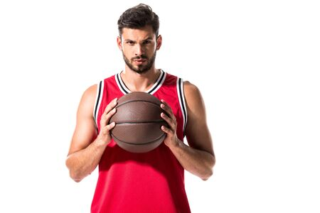 handsome basketball player holding ball Isolated On White