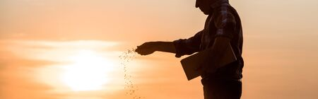panoramic shot of farmer sowing seeds during sunset Фото со стока