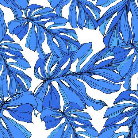Wektor egzotyczne tropikalne lato hawajskie. Palm Beach pozostawia dżunglę botaniczną. Czarno-biała grawerowana sztuka tuszu. Bezszwowe tło wzór. Tkanina tapeta tekstura wydruku.