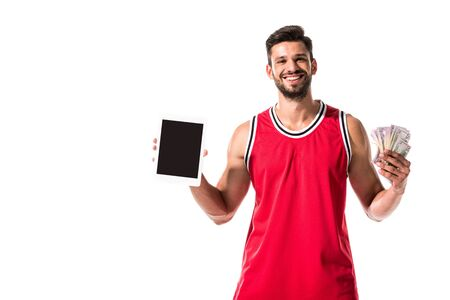 basketball player holding digital device with blank screen and money Isolated On White