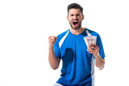 soccer player cheering with dollar banknotes Isolated On White