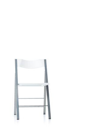 stainless folding chair on white with copy space