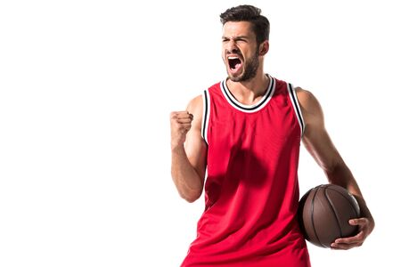excited athletic basketball player in uniform with ball Isolated On White with copy space