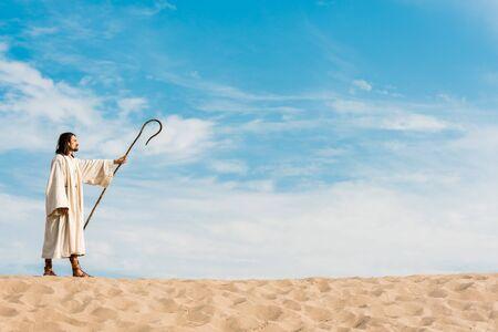 przystojny mężczyzna trzymający drewnianą laskę i stojący na pustyni