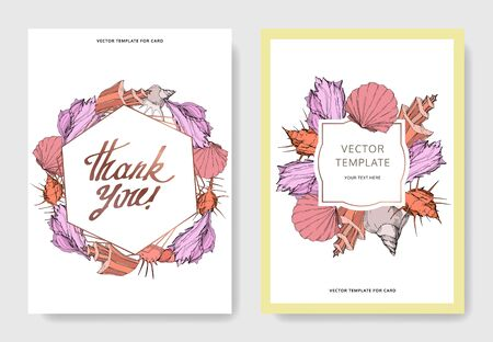 Vector Summer beach seashell tropical elements. Engraved ink art. Wedding background card decorative border. Thank you, rsvp, invitation elegant card illustration graphic set banner. Stock Photo