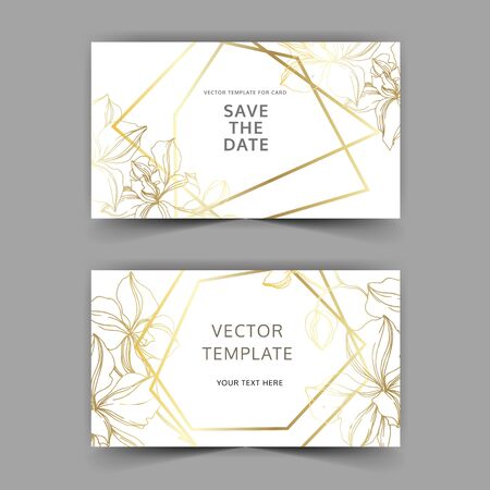 Vector Orchid floral botanical flowers. Black and white engraved ink art. Wedding background card decorative border. Thank you, rsvp, invitation elegant card illustration graphic set banner. 스톡 콘텐츠