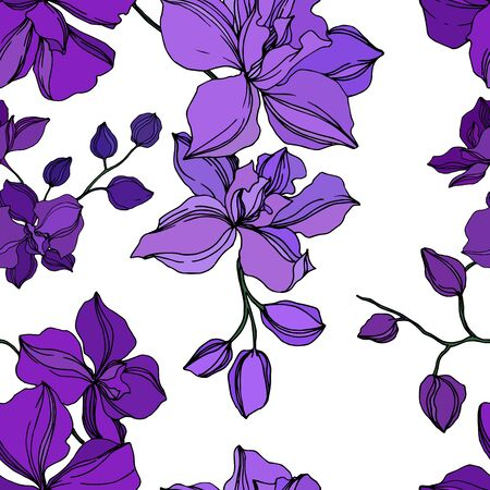 Vector Orchid floral botanical flowers. Wild spring leaf wildflower isolated. Black and purple engraved ink art. Seamless background pattern. Fabric wallpaper print texture.
