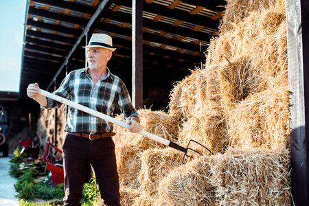 bearded senior farmer in straw hat holding rake near hay Reklamní fotografie