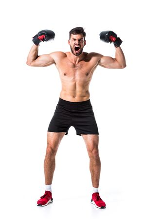 angry shirtless Boxer showing muscles Isolated On White
