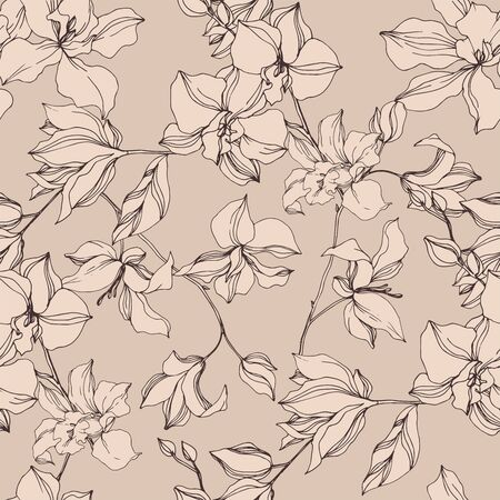 Vector Orchid floral botanical flowers. Wild spring leaf wildflower isolated. Black and white engraved ink art. Seamless background pattern. Fabric wallpaper print texture.