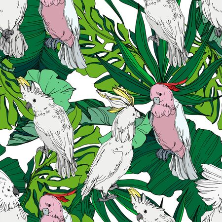 Vector Sky bird cockatoo in a wildlife. Wild freedom, bird with a flying wings. Black and white engraved ink art. Seamless background pattern. Fabric wallpaper print texture. Stockfoto