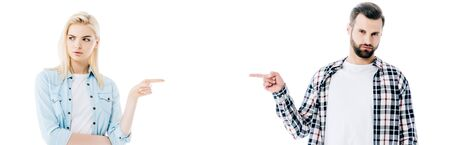 panoramic shot of offended pretty girl and handsome man pointing with fingers Isolated On White Stockfoto