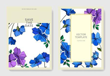 Vector Flax floral botanical flowers. Violet and blue engraved ink art. Wedding background card floral decorative border. Thank you, rsvp, invitation elegant card illustration graphic set banner. Banco de Imagens