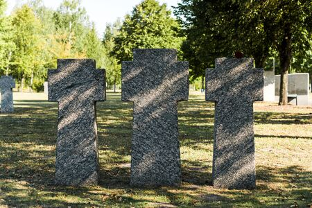 shadows on concrete tombs in cemetery near trees