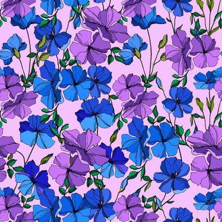 Flores botánicas florales de lino de vector. Flores silvestres de hoja de primavera salvaje aislado. Arte de tinta grabada azul y violeta. Patrón de fondo transparente. Textura de impresión de papel tapiz de tela.