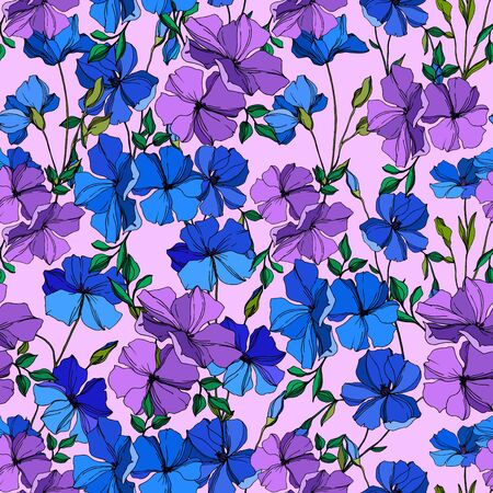 Vector Flax floral botanical flowers. Wild spring leaf wildflower isolated. Blue and violet engraved ink art. Seamless background pattern. Fabric wallpaper print texture.