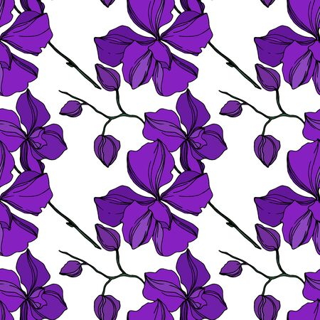 Vector Orchid floral botanical flowers. Wild spring leaf wildflower isolated. Black and purple engraved ink art. Seamless background pattern. Fabric wallpaper print texture. Banco de Imagens