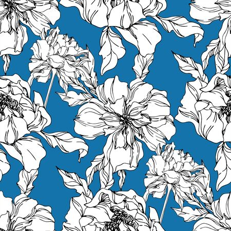 Peony floral botanical flowers. Wild spring leaf wildflower isolated. Black and white engraved ink art. Seamless background pattern. Fabric wallpaper print texture.