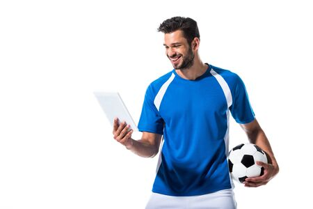 happy handsome soccer player with ball and Digital Tablet Isolated On White