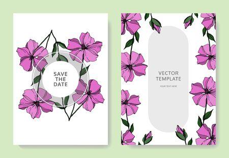 Vector Flax floral botanical flowers. Black and white engraved ink art. Wedding background card floral decorative border. Thank you, rsvp, invitation elegant card illustration graphic set banner. Banco de Imagens
