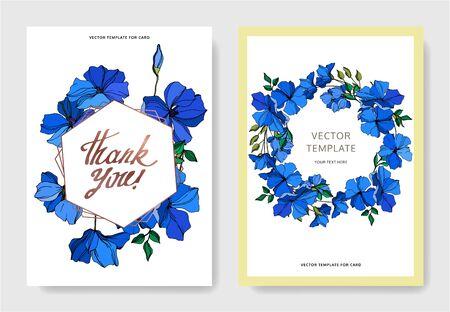 Vector Flax floral botanical flowers. Blue and green engraved ink art. Wedding background card floral decorative border. Thank you, rsvp, invitation elegant card illustration graphic set banner.