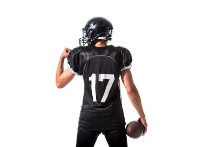 back view of American Football player with ball Isolated On White Фото со стока