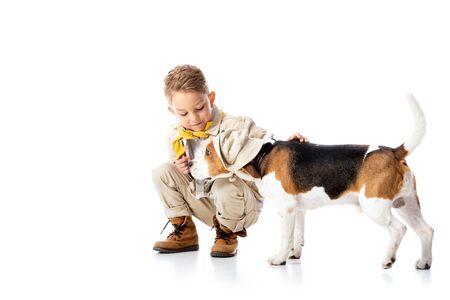 preschooler explorer kid stroking beagle dog in hat on white Фото со стока