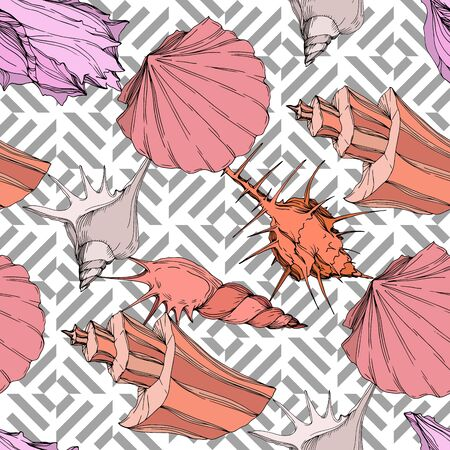 Summer beach seashell tropical elements. Engraved ink art. Seamless background pattern. Fabric wallpaper print texture on white background.