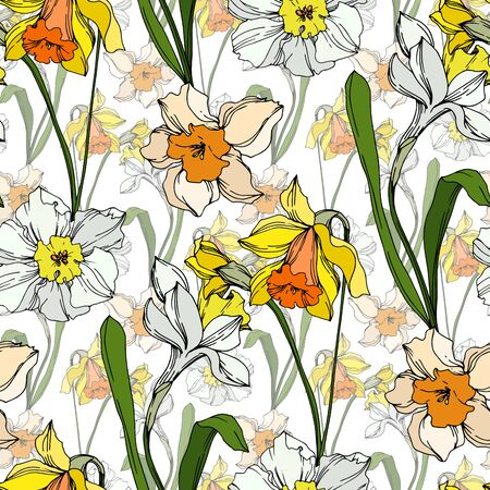 Vector Narcissus floral botanical flower. Wild spring leaf wildflower isolated. Black and white engraved ink art. Seamless background pattern. Fabric wallpaper print texture.