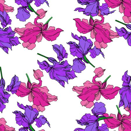 Vector Iris floral botanical flowers. Wild spring leaf wildflower isolated. Black and white engraved ink art. Seamless background pattern. Fabric wallpaper print texture. Banco de Imagens