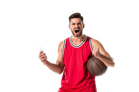 basketball player with ball and smartphone yelling Isolated On White