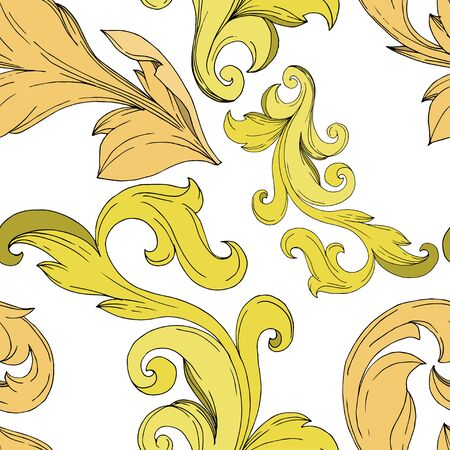 Vector Golden monogram floral ornament. Baroque design elements. Black and white engraved ink art. Seamless background pattern. Fabric wallpaper print texture. Фото со стока - 130116061