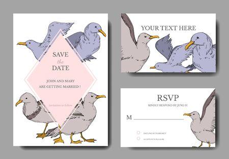 Vector Sky bird seagull isolated. Black and white engraved ink art. Wedding background card decorative border. Thank you, rsvp, invitation elegant card illustration graphic set banner.